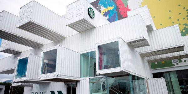 Nueva Tienda Starbucks Con Containers En Taipéi